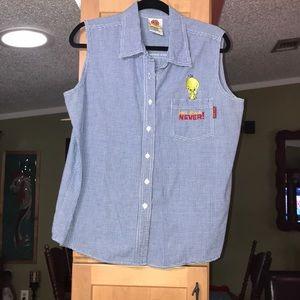 Looney tunes  button down shirt tweety bird